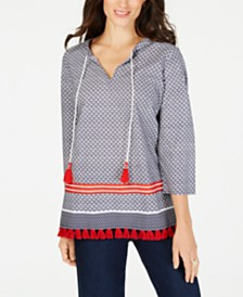 Charter Club Tassel-Trim Mixed-Print Cotton Tunic, Created for Macy's