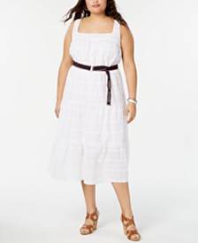 Tommy Hilfiger Plus Size Cotton Eyelet Dress, Created for Macy's