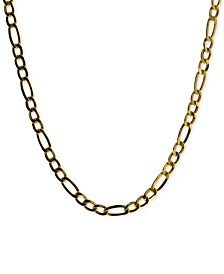 Figaro Link Adjustable Choker Necklace in 14k Gold