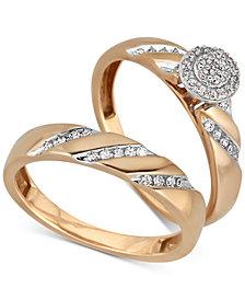 Diamond Cluster Bridal Set (1/5 ct. t.w.) in 14k Gold