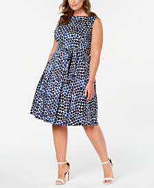 Anne Klein Printed A-Line Belted Dress