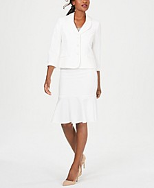 Three-Button Crepe Skirt Suit