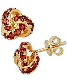 Rhodolite Garnet Love Knot Stud Earrings (4 ct. t.w.) in 14k Gold-Plated Sterling Silver