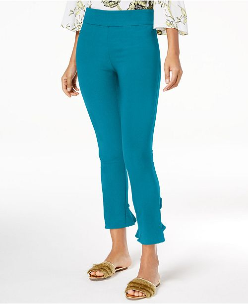 INC International Concepts I.N.C. Curvy Ruffled-Hem Ankle Skinny Pants, Created for Macy's