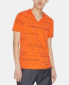 A|X Armani Exchange Men's Logo Text V-Neck T-Shirt