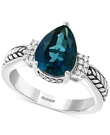 EFFY® London Blue Topaz (3-1/10 ct. t.w.) & Diamond Accent Ring in Sterling Silver