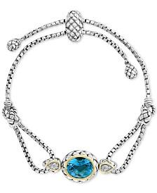 EFFY® Blue Topaz (5-3/4 ct.t.w) & Diamond Accent Bolo Bracelet in Sterling Silver & 18k Gold-Plate