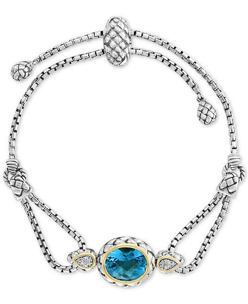 EFFY Collection EFFY® Blue Topaz (5-3/4 ct.t.w) & Diamond Accent Bolo Bracelet in Sterling Silver & 18k Gold-Plate