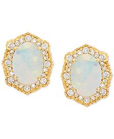 Opal (9/10 ct. t.w.) & Diamond (1/5 ct. t.w.) Earrings in 14k Gold