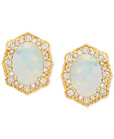 Opal (9/10 ct. t.w.) & Diamond (1/5 ct. t.w.) Earrings in 14k Gold