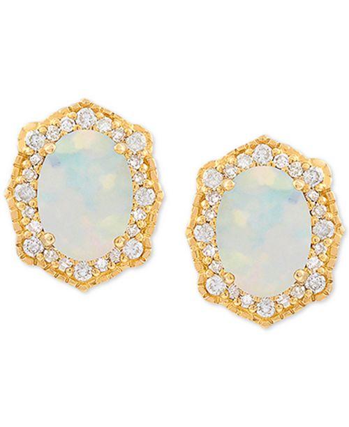 Macy's Opal (9/10 ct. t.w.) & Diamond (1/5 ct. t.w.) Earrings in 14k Gold