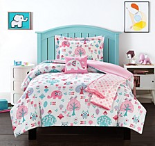 Elephant Garden 5 Piece Full Comforter Set