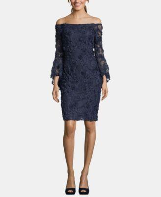 Petite Off The Shoulder Lace Sheath Dress