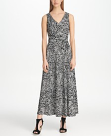 DKNY Ditsy Floral V-Neck Maxi Dress