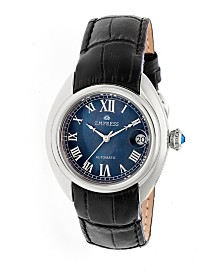 Empress Antoinette Automatic Silver Case, Black Dial, Black Leather Watch 38mm