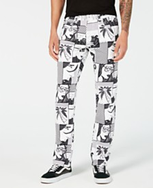 I.N.C. Men's Comic-Print Slim Straight-Leg Jeans, Created for Macy's