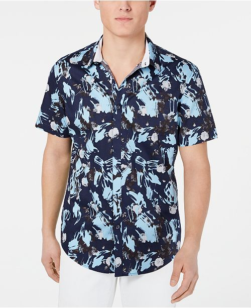 INC International Concepts I.N.C. Men's Brushstroke Floral-Print Shirt, Created for Macy's
