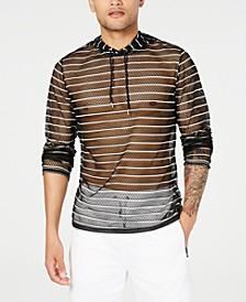 INC Men's Stripe Mesh Hooded T-Shirt, Created for Macy's
