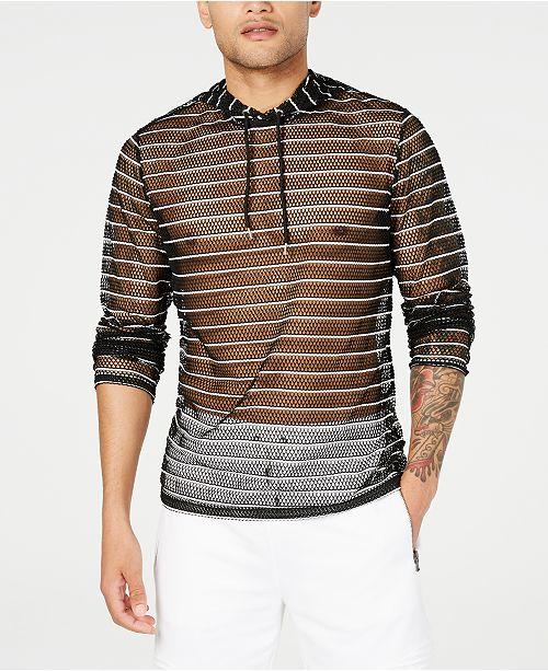 INC International Concepts I.N.C. Men's Stripe Mesh Hooded T-Shirt, Created for Macy's