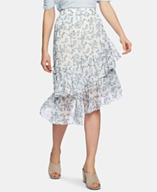 1.STATE Blossom Printed Tiered Asymmetrical Skirt