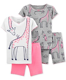 Carter's Baby Girls 4-Pc. Cotton Dinosaur Pajamas Set