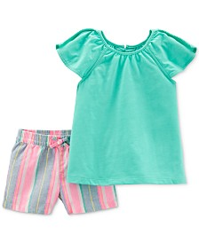 Carter's Toddler Girls 2-Pc. Pom-Pom Top & Striped Shorts Set