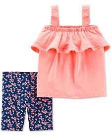 Baby Girls 2-Pc. Ruffled Top & Printed Shorts Set