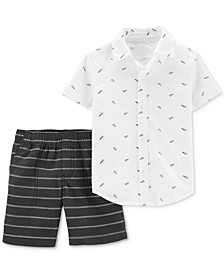 Toddler Boys 2-Pc. Cotton Paper Airplane-Print Shirt & Striped Shorts Set