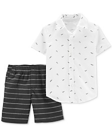 Carter's Toddler Boys 2-Pc. Cotton Paper Airplane-Print Shirt & Striped Shorts Set