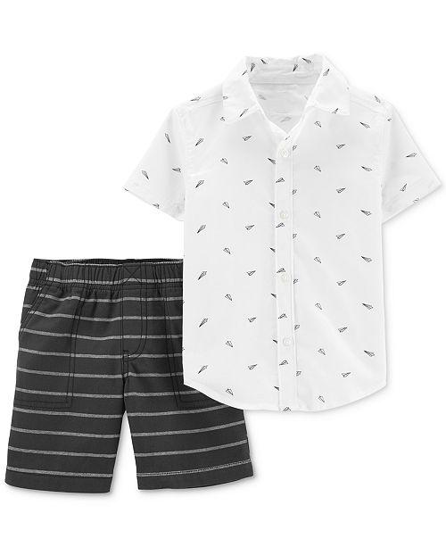 Carter's Toddler Boys 2-Pc. Cotton Paper Airplane-Print Shirt & Striped Shorts Set