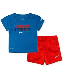 Nike Baby Boys 2-Pc. Dri-FIT Catch Me if You Can Graphic T-Shirt & Shorts Set