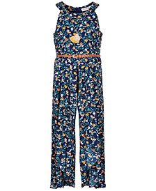 Big Girls Floral-Print Ruffle Jumpsuit & Necklace