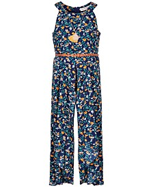 Beautees Big Girls Floral-Print Ruffle Jumpsuit