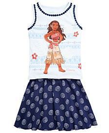 Little Girls 2-Pc. Moana Tank Top & Printed Skirt Set, Created for Macy's