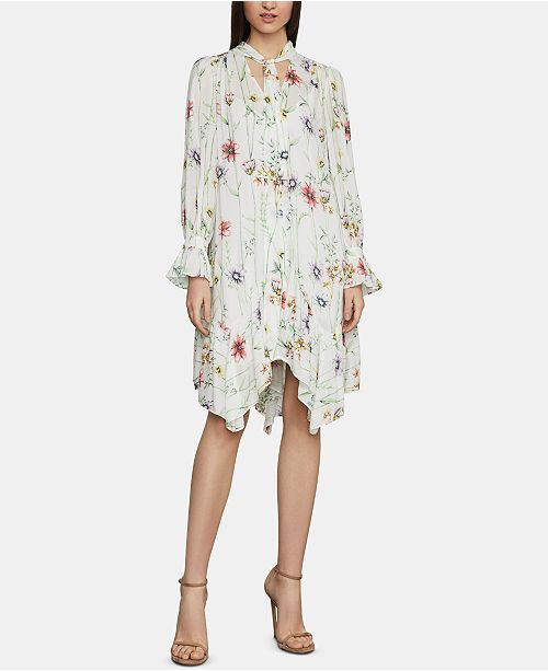 65b6fd33b33 BCBGMAXAZRIA Floral-Print Tie-Neck Shift Dress   Reviews ...