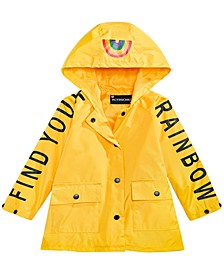 Toddler Girls Hooded Rainbow Rain Coat