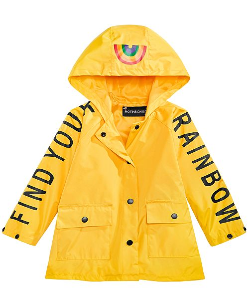 S Rothschild & CO Toddler Girls Hooded Rainbow Rain Coat