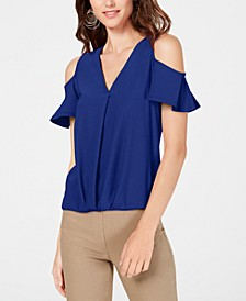 INC Petite Surplice Cold-Shoulder Top, Created for Macy's