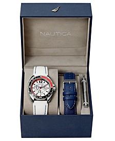 Men's N09907G Sport Ring Multifunction White Silicone Strap Watch Box Set with Navy Leather Strap