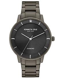 Kenneth Cole New York Men's Diamond-Accent Gunmetal-Tone Stainless Steel Bracelet 43mm