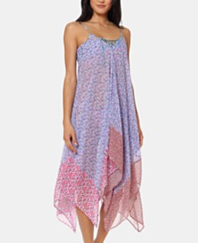 Jessica Simpson Printed Handkerchief-Hem Cover-Up Dress