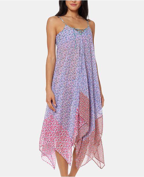Jessica Simpson Printed Handkerchief-Hem Cover-Up Dress