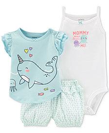 Carter's Baby Girls 3-Pc. Cotton T-Shirt, Bodysuit & Printed Shorts Set
