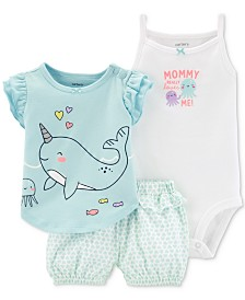Carter's Baby Girls 3-Pc. Cotton T-Shirt, Bodysuit & Printed Shorts Set