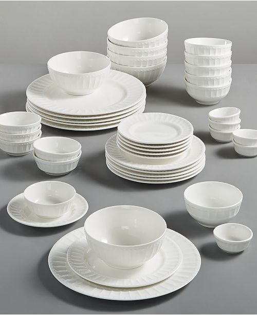 Gibson White Elements Paloma Embossed 42-Piece Set, Service for 6, Created for Macy's