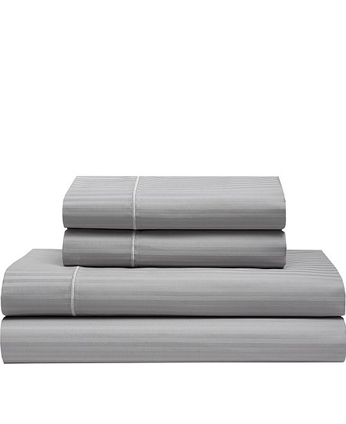 Elite Home Silky Soft Long Staple Cotton Stripe California King Sheet Set