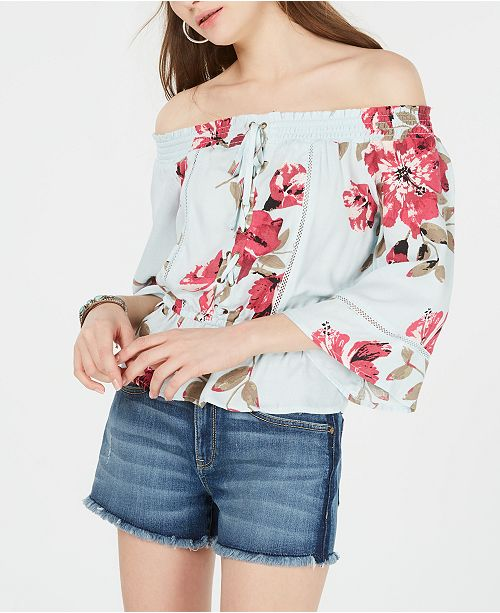 American Rag Juniors' Off-The-Shoulder Lace-Front Top, Created for Macy's