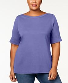 Karen Scott Plus Size Boatneck Top, Created for Macy's