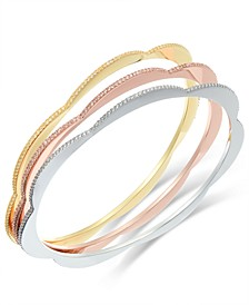 Tri-Tone 3-Pc. Set Textured & Scalloped Bangle Bracelets