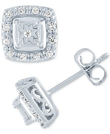 Diamond Halo Square Stud Earrings (1/8 ct. t.w.) in 10k White Gold